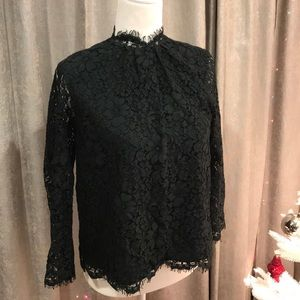 Joie Tops - Joie! Size XS! Hunter Green! Lace Top! High Neck!